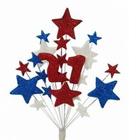 Number age 21st birthday cake topper decoration in red, white and blue - free postage